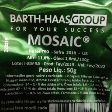 Lúpulo Mosaic 2018 12,4aa - 50 g