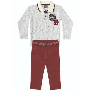 Conjunto Camiseta Polo e Calça Sarja Brandili - Anjo Travesso - Cacio Moda  Infantil Juvenil Masculina efbbf7bfd8ae1