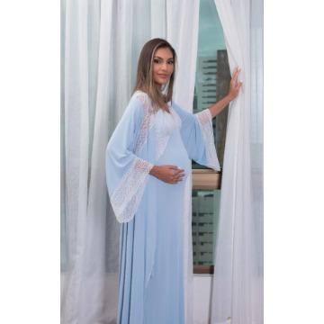 Robe Malha Longo Com Renda Ref. 939
