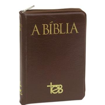 Bíblia Popular TEB - com Zíper e Capa Marrom
