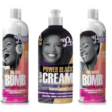 Kit Soul Power Bomb Cabelos Em Transição E Creme Black