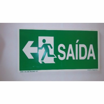 PLACA FOTOLUMINESCENTE - SAÍDA COM BONECO E SETA PARA ESQUERDA