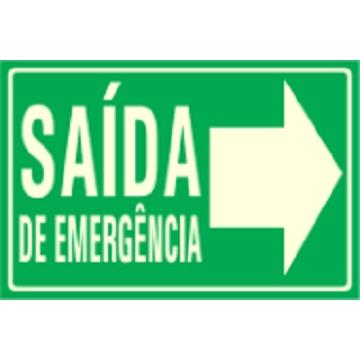 PLACA FOTOLUMINESCENTE - SAÍDA DE EMERGÊNCIA PARA DIREITA