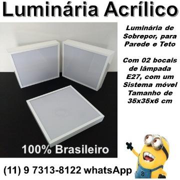 LUMINÁRIA TETO ACRÍLICO SOBREPOR BRANCA - MODELO DMB-LUX