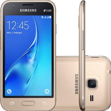 "Smartphone Samsung Galaxy J1 Mini Dual Chip Android 5.1 Tela 4"" 8GB 3G Wi-Fi Câmera 5MP - Dourado"