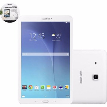 "Tablet Samsung Galaxy Tab E T561M 8GB Wi-Fi + 3G Tela 9.6"" Android 4.4 Quad-Core - Branco"