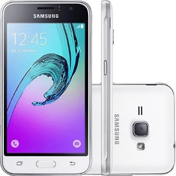 "Smartphone Samsung Galaxy J1 Dual Chip Android 5.1 Tela 4,5"" 8GB 3G Wi-Fi Câmera 5MP - Branco"