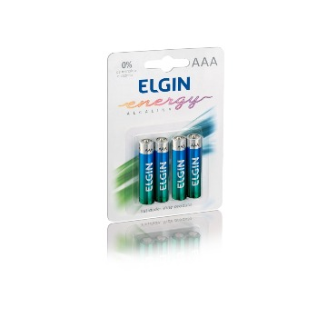 Pilha alcalina Elgin AAA LR03 blister C/4un