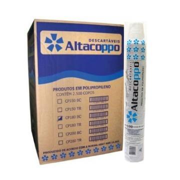 Copo descartável 200ml Altacopo super premium natural cx c/ 2500un