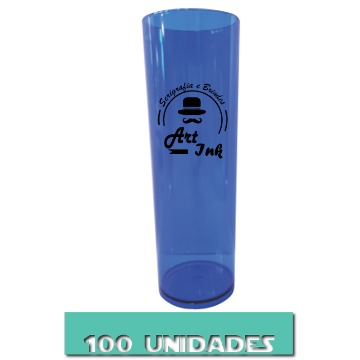 LONG DRINK AZUL NEON 350ML 100 UNIDADES