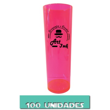LONG DRINK ROSA NEON 350ML 100 UNIDADES
