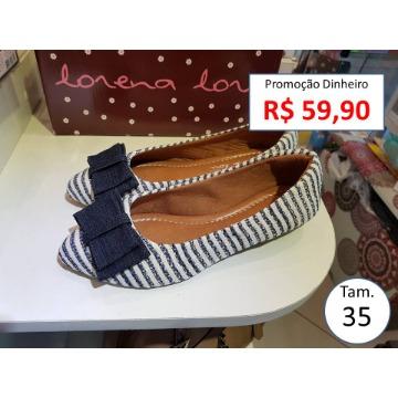 Sapatilha Listrado azul tamanho 35 Lorena 162000