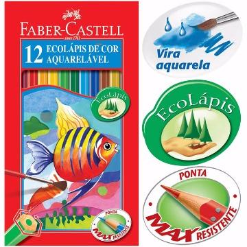 LAPIS DE COR FABER-CASTELL 12 CORES AQUARELA + PINCEL REF.120212G