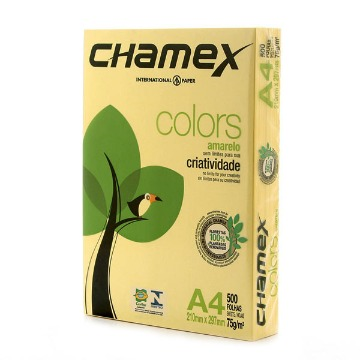 PAPEL CHAMEX COLORS AMARELO A4 MULTI 75GS 210X297 PCT 500F
