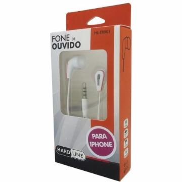 FONE DE OUVIDO C/MIC P/IPHONE HL-ER001 BRANCO HARDLINE