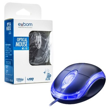 MOUSE OPT USB LED AZUL MS10 - EXBOM