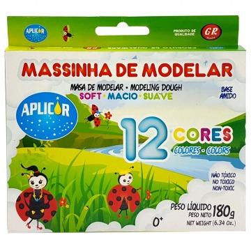 MASSINHA DE MODELAR 12 CORES APLICOR 180G - BASE AMIDO