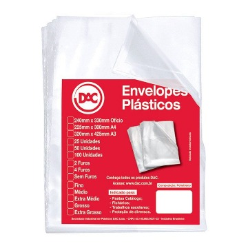 SACO PLASTICO DAC 0.20 C/4 FUROS  (240x325MM) PCT C/100UN