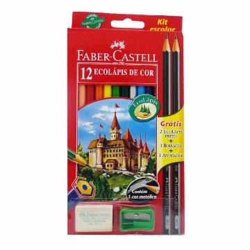 LAPIS DE COR FABER-CASTELL 12 CORES SEXTAVADO KIT ESCOLAR REF.120112+2N