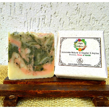 Sabonete Natural e Vegetal Argilas Branca, Rosa e Verde