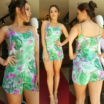 Macaquinho floral verde claro DIMY