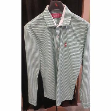 Camisa SergioK social manga longa verde com traços brancos SLIM G
