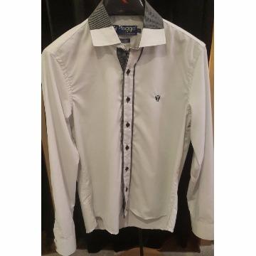 Camisa de botao manga longa cinza com detalhes em preto P