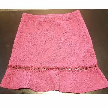 saia de renda peplum rosa P