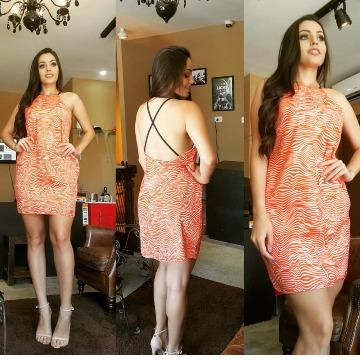 vestido vide bula laranja alça em couro P que veste M