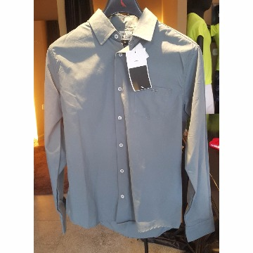 Camisa social cinza com bolso cinza scaven