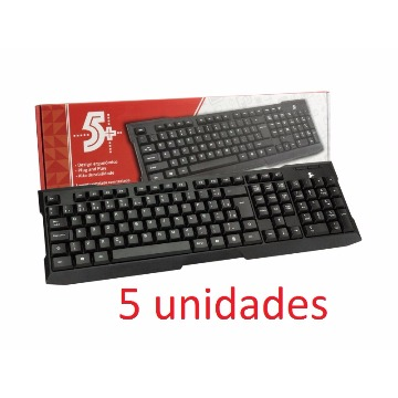 KIT COM 5 TECLADOS USB OFFICE PRETO