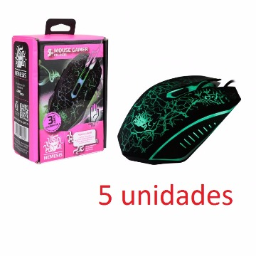 KIT COM 5 MOUSES GAMER NÊMESIS COM 6 BOTOES 2400 DPI E FINGERTIP COM GRIP