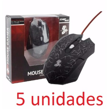 KIT COM 5 MOUSES OTICO GAMER 6D 1000 1200 1600DPI PRETO