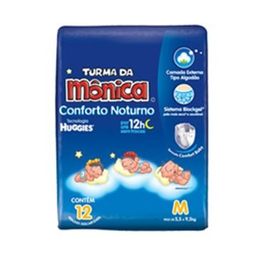 FRALDA DESCARTAVEL T MONICA NOTURNA M 12UN