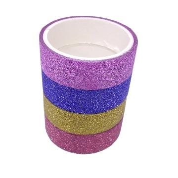 Washi Tape Fita Adesiva Glitter Colorida 4 peças
