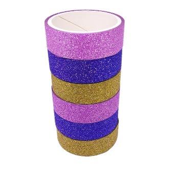 Washi Tape Fita Adesiva Glitter Colorida 6 peças