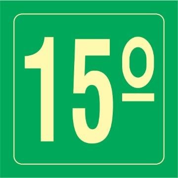 Placa Ident. Pavimento 15 Andar - S17-15 14x14CM