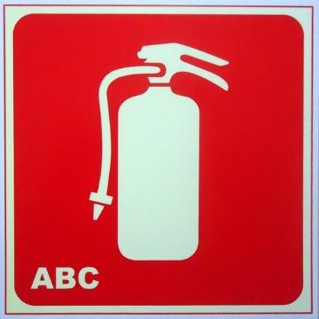 Placa Extintor De Incêndio PQS ABC - Cód. E5/abc - 21x21CM