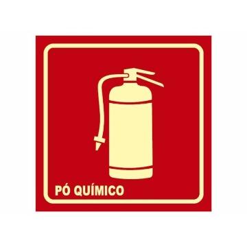 Placa Extintor De Incêndio PQS BC - Cód. E5/PQS -  21x21cm