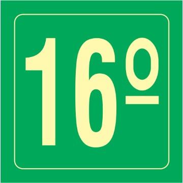 Placa Ident. Pavimento 16 Andar - S17-16 14x14CM