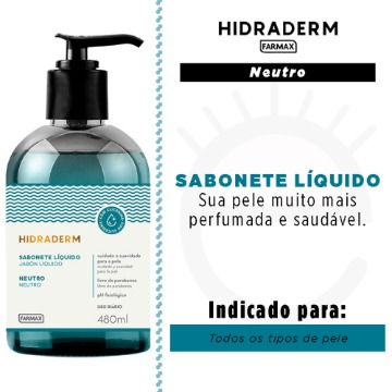 207943 Sabonete Líquido Hidraderm Neutro Farmax 480ml