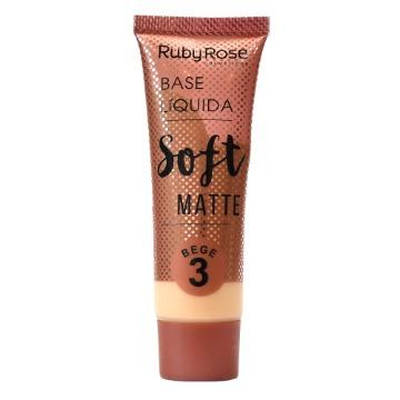 27825 Base Líquida Soft Matte Bege 3 Ruby Rose 29ml