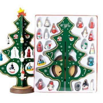 Enfeite Árvore De Natal Em Madeira 24pçs Mini Arvore Madeira