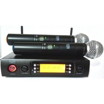 MICROFONE DUPLO UHF SEM FIO - PLL 100 CANAIS - UHF-628M