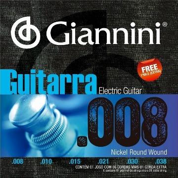 ENCORDOAMENTO GUITARRA GIANNINI 0.008 GEEGST8 + MI EXTRA
