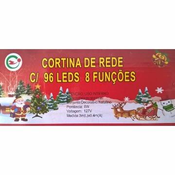 CORTINA REDE COM 96 LÂMPADAS LED 8 FUNÇÕES BRANCO