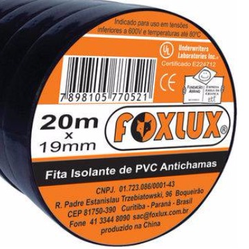 FITA ISOLANTE DE PVC 20MX19MM FOXLUX
