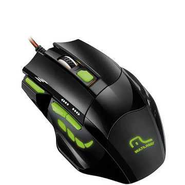 Mouse Multilaser MO208 Gamer Fire 2400Dpi Preto e Verde