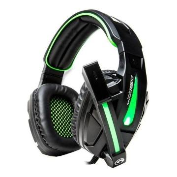 Fone de Ouvido GameMax Gamer H8657 Preto e Verde LED USB+P2