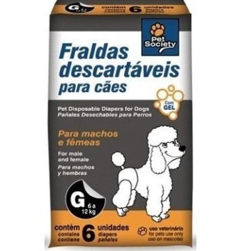 Fraldas descartáveis para cães Pet Society - tam. G (6 a 12 kg)
